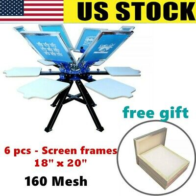 6 Color Screen Printing Press 6 Station Printer T-shirt Heavy Duty Diy