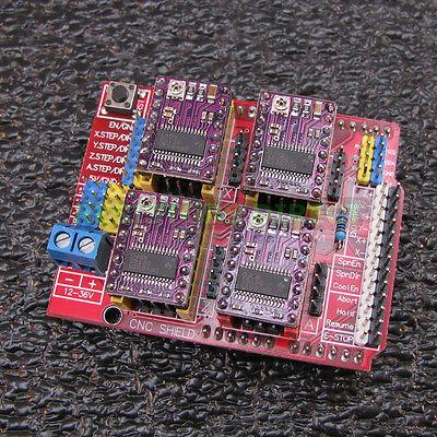 Assembeled Cnc Shield Expansion Board V3 4pcs Drv8825 Driver Module Arduino W38