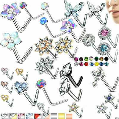 L bend Nose stud ring  316L Surgical Steel L opal , CZ gems septum ring 20 gauge