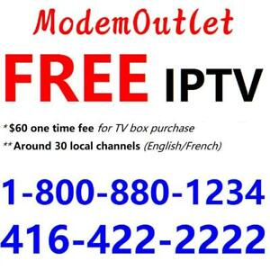 FREE IPTV box with 75M internet plan $29.98/month, Unlimited usage. 30 local channels. Call 1-800-880-1234 to order