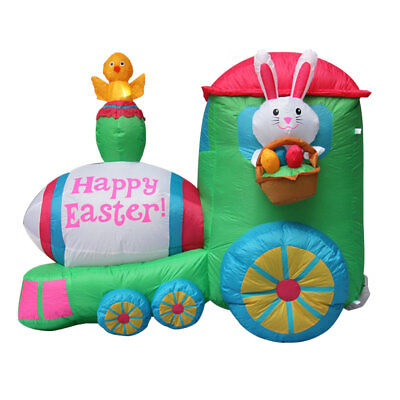 Easter Inflatable Bunny Train Decoration, Outdoor Holiday Rabbit Train Yard