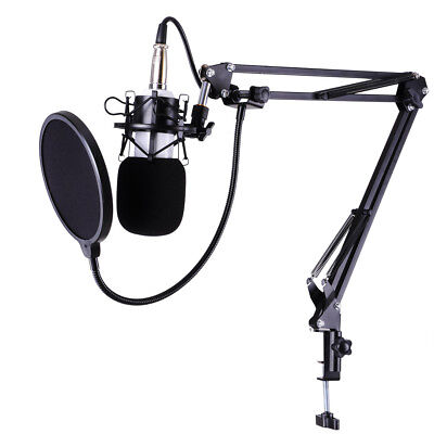 Condenser Microphone Kit Studio Pop Filter Boom Scissor Arm Stand Shock Mount