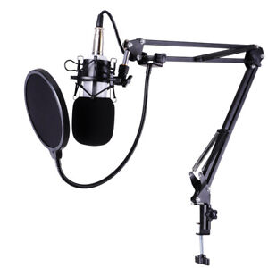 Condenser Microphone Kit Studio Pop Filter Boom Scissor Arm Stand Shock Mount