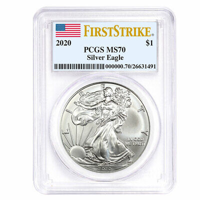 Best  2020 $1 AMERICAN SILVER EAGLE PCGS MS70 FIRST STRIKE FLAG LABEL