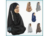 One Piece Chiffon Hijab pull on ready Amira Jilbab Abaya Scarf Headscarf glitter