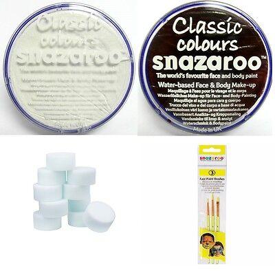 Professional SNAZAROO 75ML Face & Body Paint X-LARGE POT ~ Sponges & Brushes acc