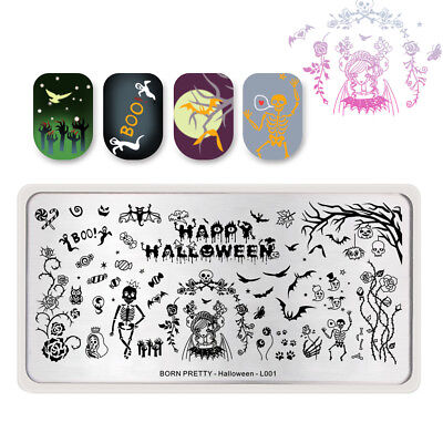 BORN PRETTY Nail Stamping Plate  Template Image Halloween Skull Pumpkin