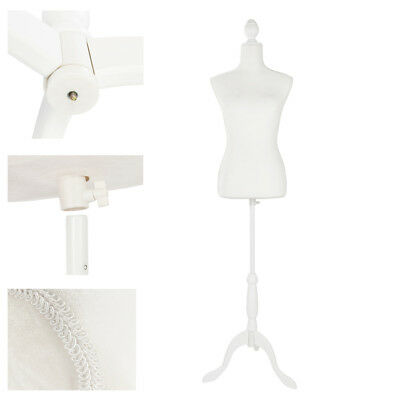 Female Mannequin Torso Clothing Dress Form Shop Display W/ White Tripod Stand ()