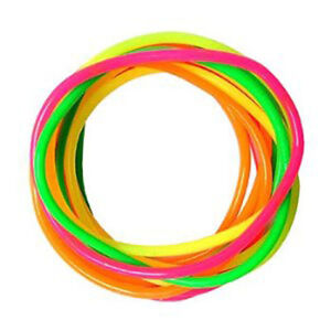 Gummy Bangles Neon 12 Bands s Jelly Wristbands Bracelets 80's Fancy Dress Girls