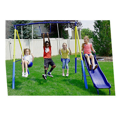 Yard Toys For Kids (Swing Set For Small Yard Backyard Metal Playground Slide Fun Playset Toddler)