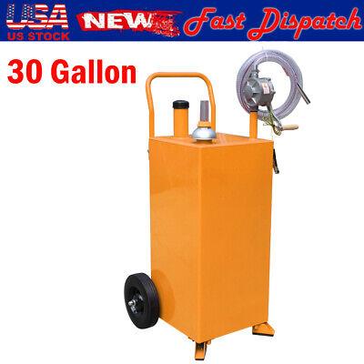 30 Gallon Manual Gas Caddy Tank Storage Drum Gasoline Fuel Transfer Rotary Pump