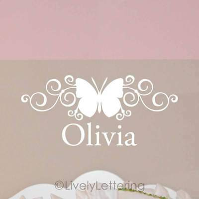 Scroll BUTTERFLY wall decal with personalized NAME, nursery decor, girl bedroom, (Butterfly Nursery Decor)