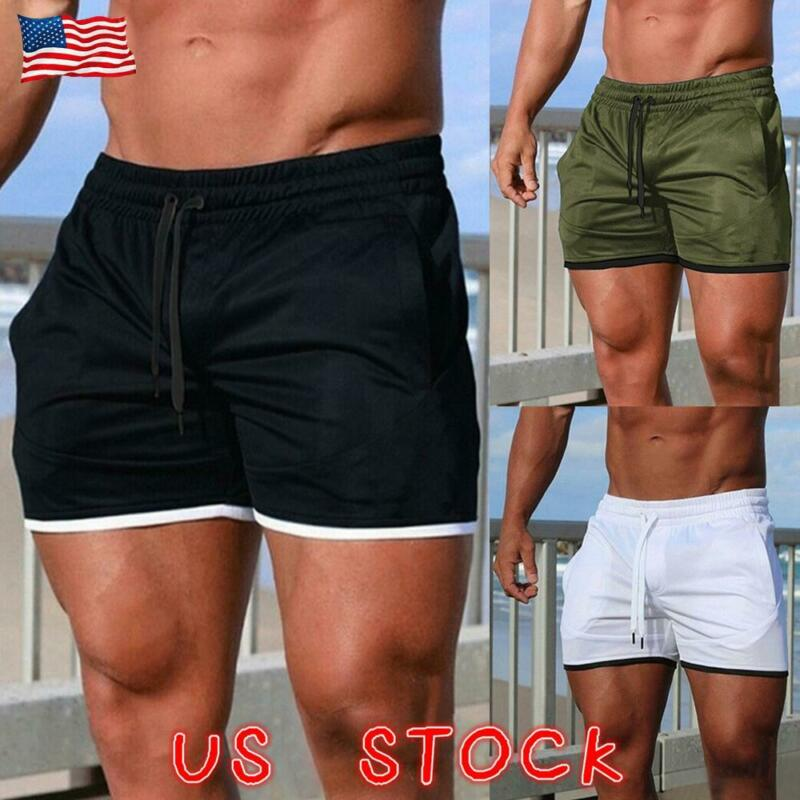 Men Casual Sports Training Bodybuilding Workout Running Shorts Fitness Gym Pants