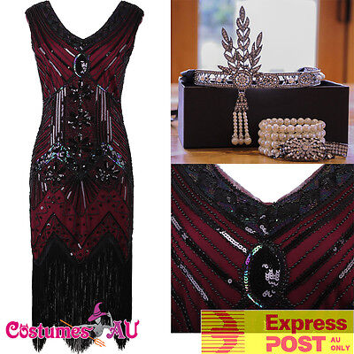 Roaring 20 Outfits (Ladies Deluxe 1920s Roaring 20s Flapper Costume Pearls Sequin Outfit Fancy)