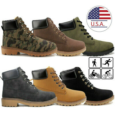 US Men's Work Leather Ankle Boots Outdoor Rubber Waterproof