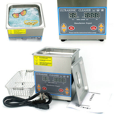 2l Dental Digital Ultrasonic Cleaner Clean Stainless Steel Heated Timer Tank