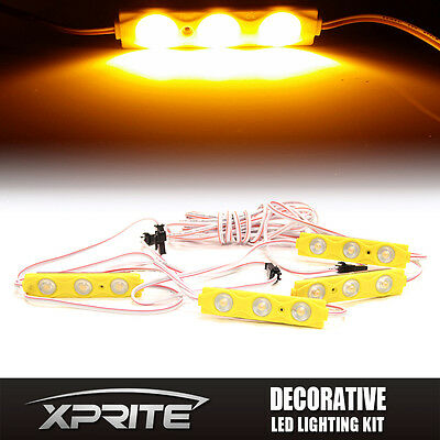 Xprite Amber 4Pc 12 Led Strip Pod Panel Off Road Jeep Under Body Rock Lights