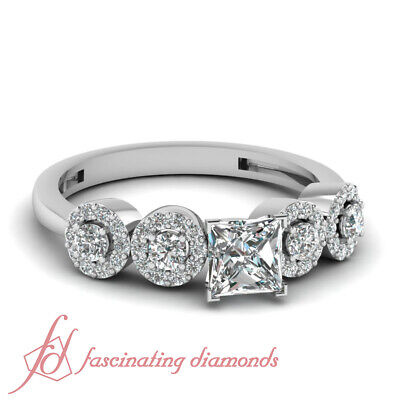GIA Certified Princess Cut Diamond Engagement Ring Pave Set in Platinum 1.10 Ct