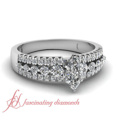1.10 Ct Marquise Cut VS1-H Color Diamond Engagement Ring Pave Set 14K Gold GIA