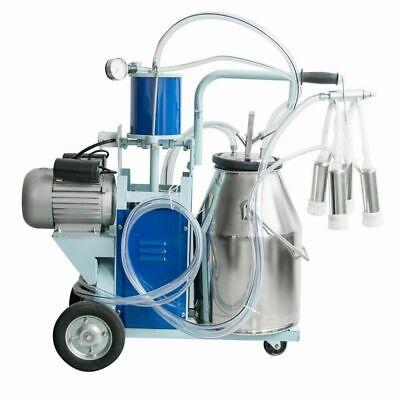 New Piston Milker Electric Stainless Steel Bucket Cows Goats Farm Milk Machine