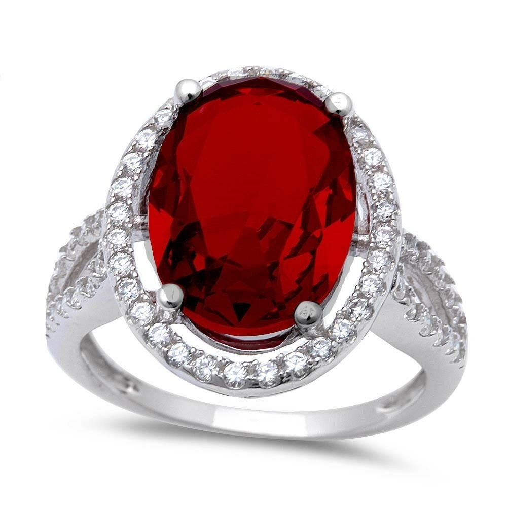Round Simulated Garnet /& White Cubic Zirconia .925 Sterling Silver Ring Sizes 5-10