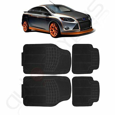 Deep Dish Heavy Duty Rubber Car Floor Mats 4pc Front Rear in Black All Weather