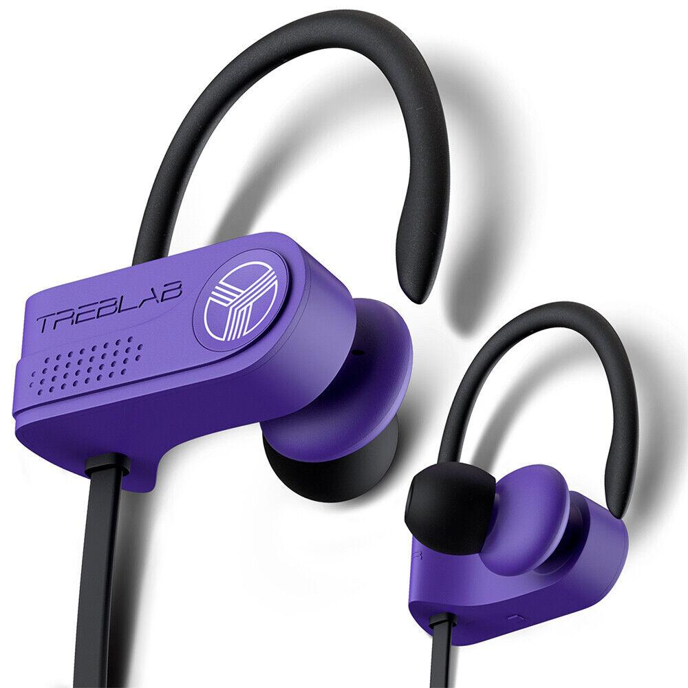 TREBLAB XR700 Purple Bluetooth Earphones Wireless Earbuds In Ear Waterproof IPX7