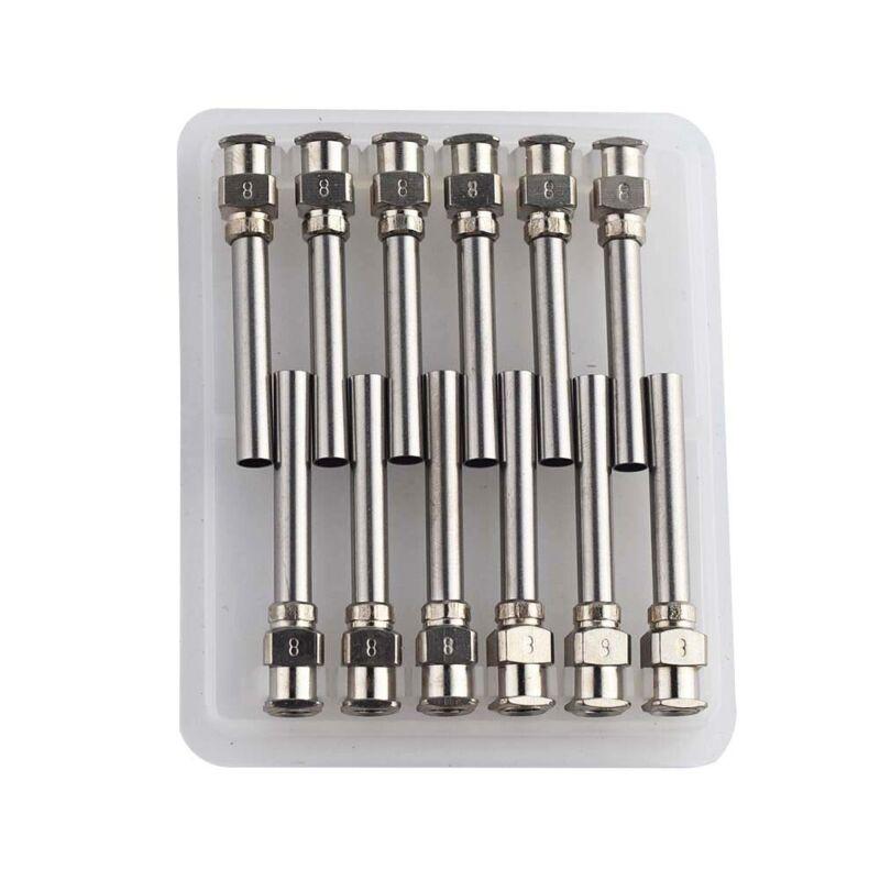 "8G Dispensing Needle 1"" Stainless Steel Blunt Tip Luer Lock Pack of 12"