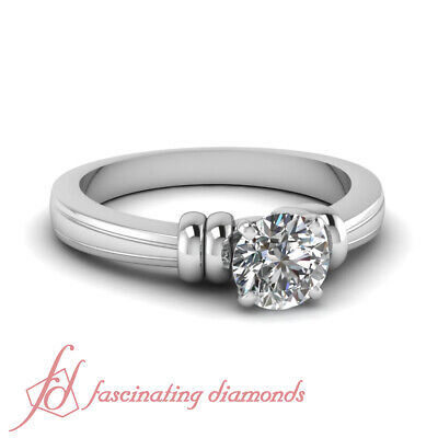 1/2 Carat Round Cut Platinum Diamond Fancy Duple Solitaire Engagement Ring GIA