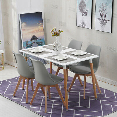 120cm Rectangle Dining Table and Chairs Grey White Set Retro Lounge Dining Room