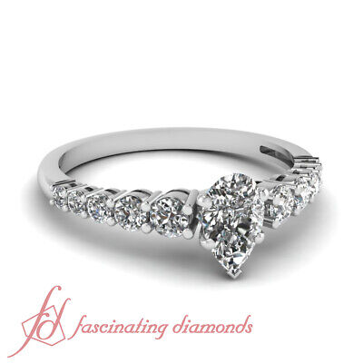 1 Ct Affordable Diamond Ring With Pear Shaped GIA Certified Center In White Gold
