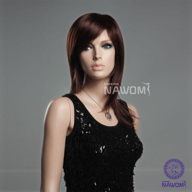 Cute Fashion Women Girl Straight Mid-length Reddish Bown Hair Kanekalon Full Wig