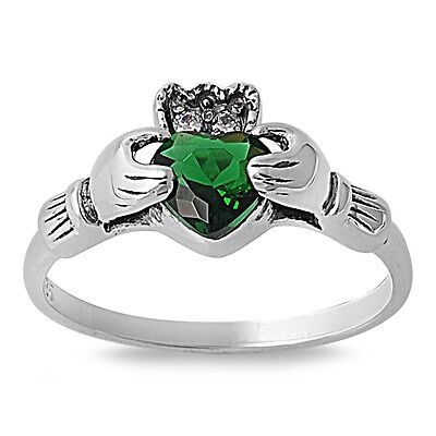 (.925 Sterling Silver Irish Heart Cut Simulated Emerald CZ Claddagh Promise Ring)