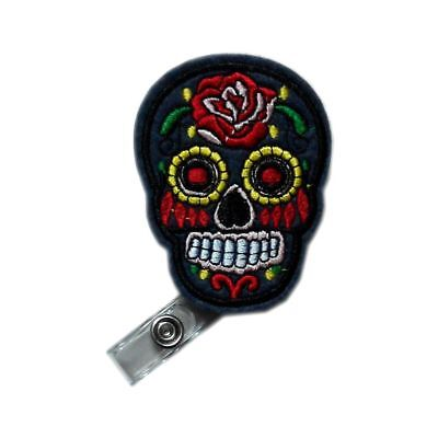 Retractable Applique Gray Skull Flower Reels ID Card Clip Nursing Badge Holder for sale  China