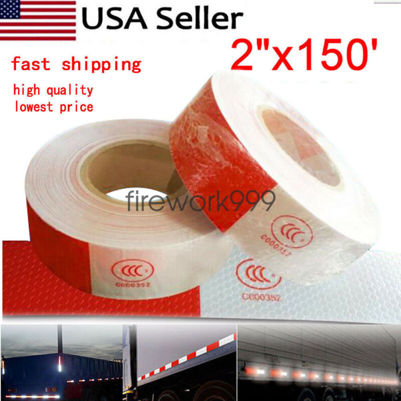"""Conspicuity Tape DOT-C2 Approved Reflective Trailer Red White 2""""x150' -1 Roll US"""