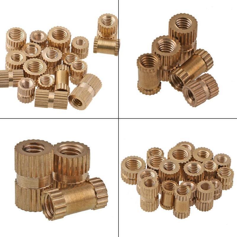 M2 M2.5 M3 M4 M6 Brass Cylinder Knurled Threaded Round Insert Embedded Nuts