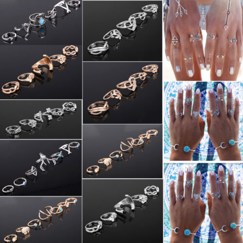 7-Style-Trendy-Silver-Plated-Boho-Fashion-Arrow-Moon-Midi-Finger-Knuckle-Rings