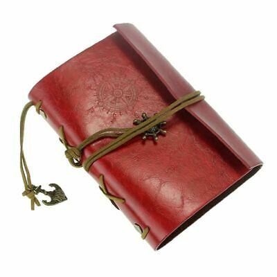 AKORD Vintage Retro Leather Cover Journal Jotter Diary Notebook - Burgundy