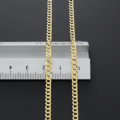 """New 9 k Gold Italian Solid  Bevelled Edge Curb Chain - 24"""" - 3mm - RRP £330 {R1}"""