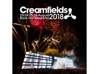 3X Creamfield 2018 tickets 4 day gold camping