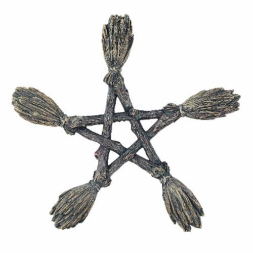"NEW Witchcraft Pentagram 7.5"" Resin Broom Figurine Wall Hanging Altar Decor"