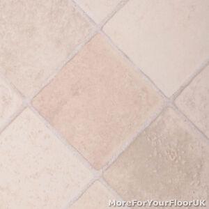 Thick vinyl flooring beige cream diamond tile for Lino flooring tile effect
