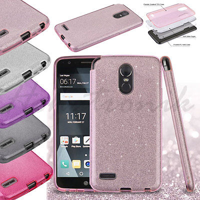 For LG Stylo 4 Hybrid Bling Glitter Rubber Silicone Protective Hard Case (Rubberized Bling)