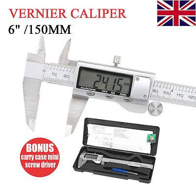 """6"""" 150mm Digital LCD Silver Vernier Caliper Micrometer Gauge Stainless Steel"""