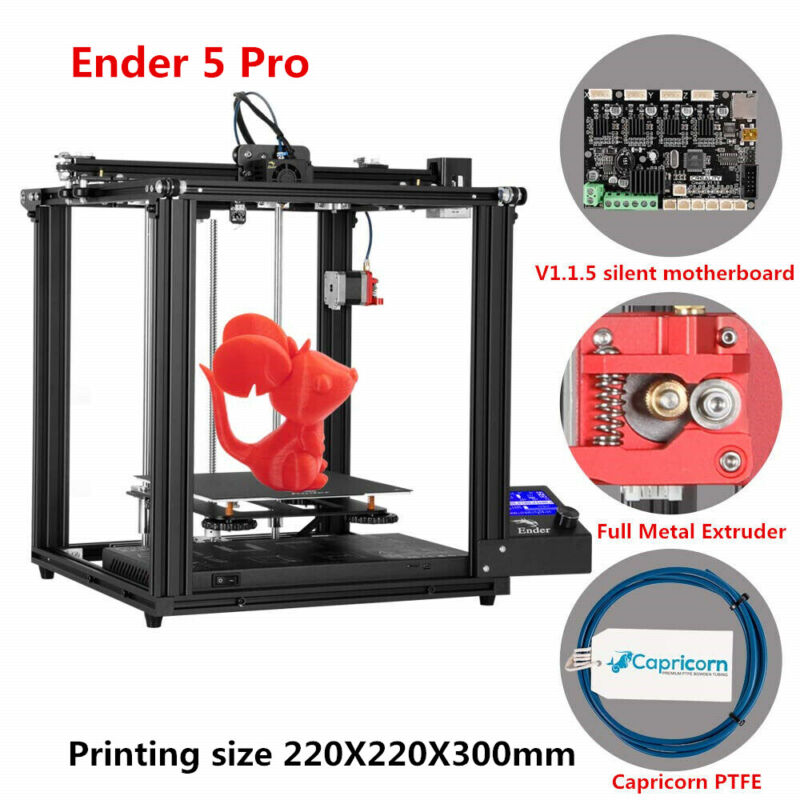 Used Creality Ender 5 Pro 3D Printer Silent Motherboard 220X220X300mm