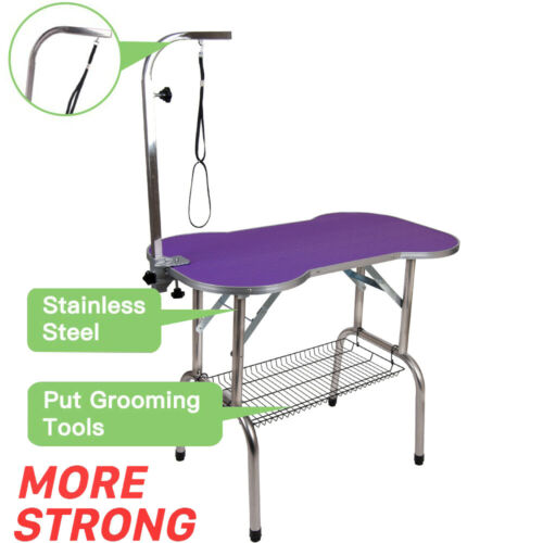 "46"" Heavy Duty Pet Professional Dog Bone Pattern Foldable Grooming Table Purple"