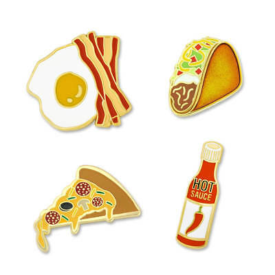 PinMart's Hot Sauce Taco Pizza Bacon and Eggs Enamel Lapel Pin Set