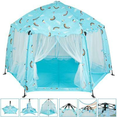 Automatic Foldable Princess Castle Play House Indoor/Outdoor Kids Play Tent Blue Kids Indoor Play Tent