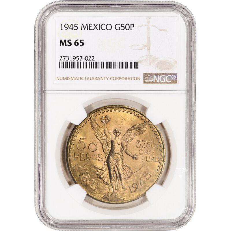 1945 Mexico Gold 50 Pesos - NGC MS65
