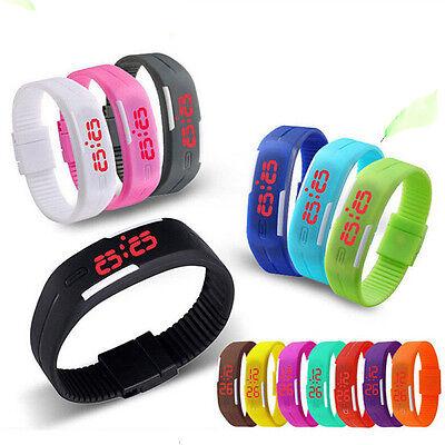 Mens Womens Kids Sports Digital Silicone Rubber LED  Bracelet Wrist Watch ()